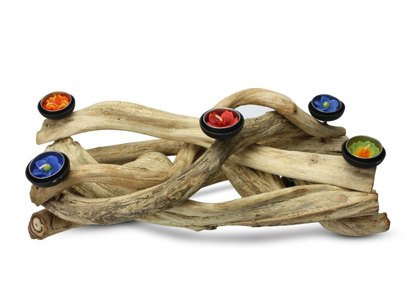 Thai Jungle Vine Driftwood Tealight Holder, JV01 - farangshop-co