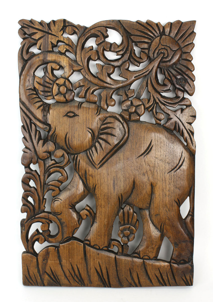Hand carved teak wood panel, Elephant, 46cm x 30cm. Panel B - farangshop-co