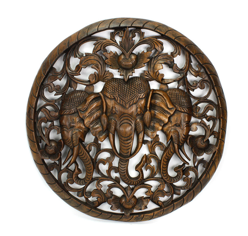 Erawan, Triple Headed Elephant, Thai woodcarving, Circular 60cm - farangshop-co