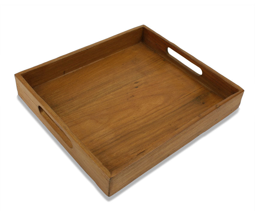 Reclaimed Teak Wood Tray - 25cm x 22cm - farangshop-co
