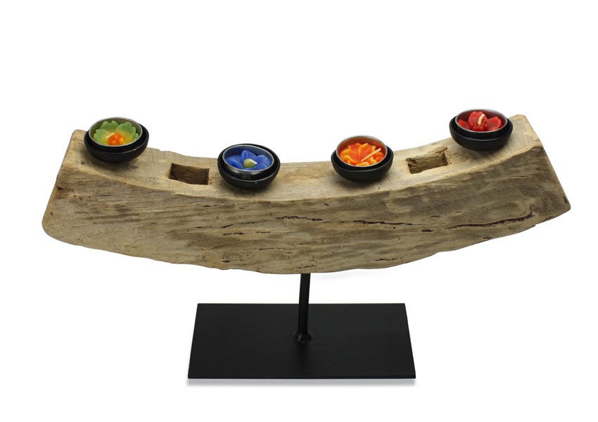 Antique Thai wagon wheel tealight candle holder, 45cm wide, ATW01 - farangshop-co
