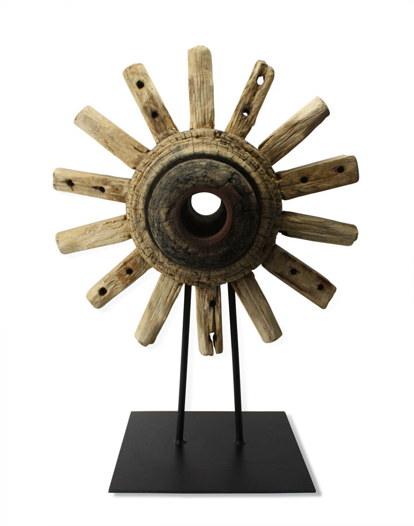 Wheel axle on stand, Thai teak wood sculpture - extra large, 68cm high. - farangshop-co