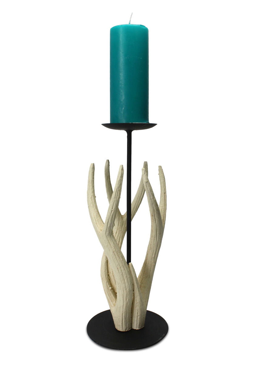 Thai Carved Wooden Antler Candle Holder, Medium 38cm high - farangshop-co