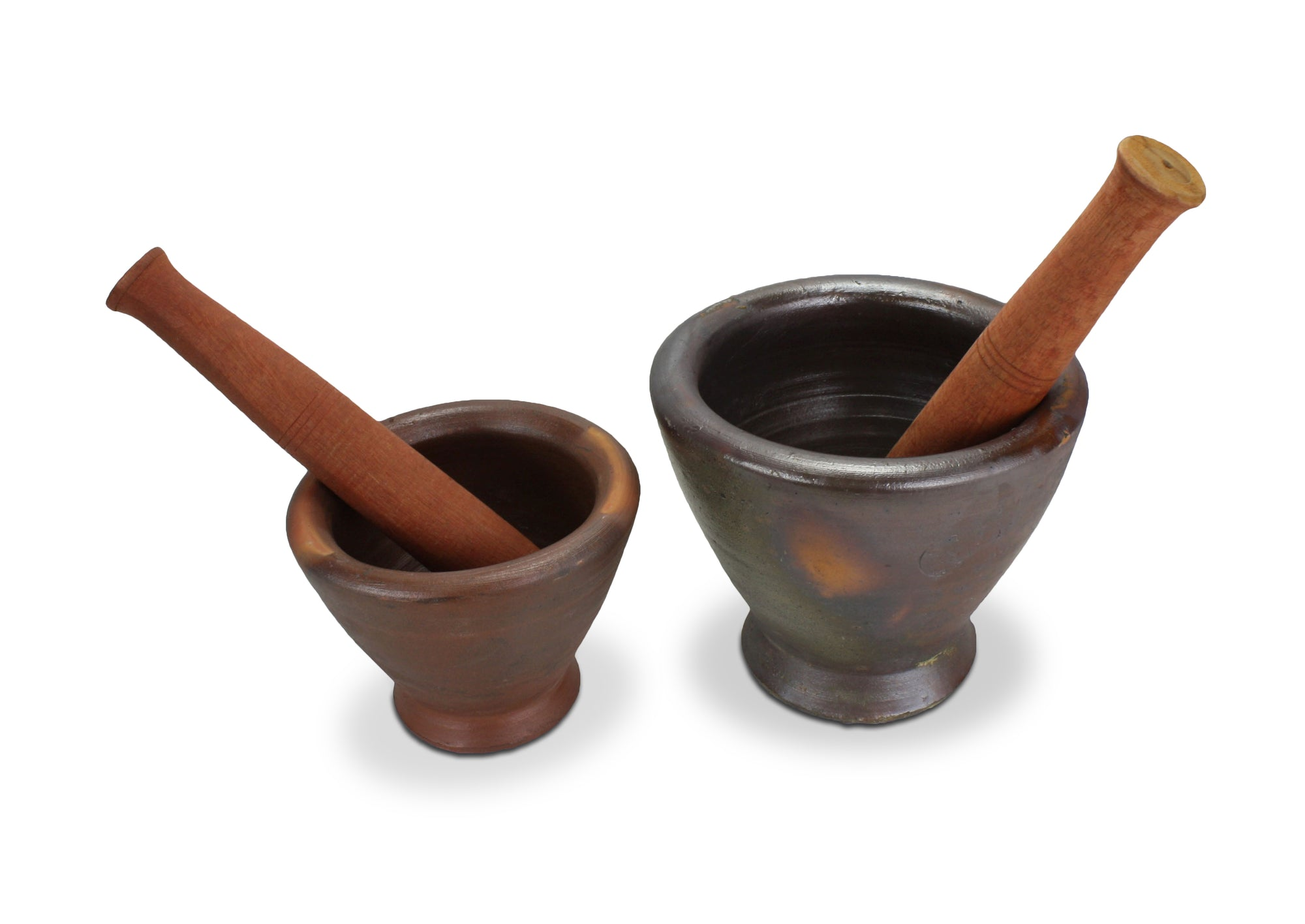 Thai / Laos Earthenware Mortar and Pestle, 2 sizes. Kruk - Clay mortar. - farangshop-co