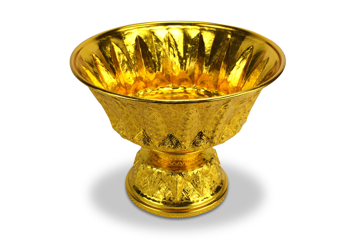 Thai gold metal Buddhist ceremonial bowl, Large size 33cm - farangshop-co
