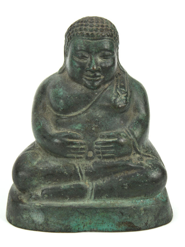 Chinese metal Buddha statue, bronze finish, 10.5cm high, B06 - farangshop-co