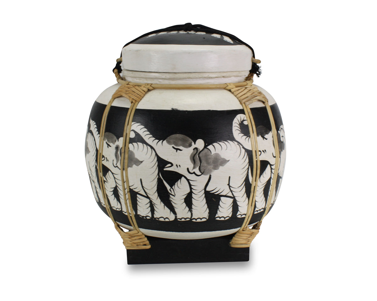 Rice seed box - Large Spherical Box, 34cm high, Elephants, White - farangshop-co