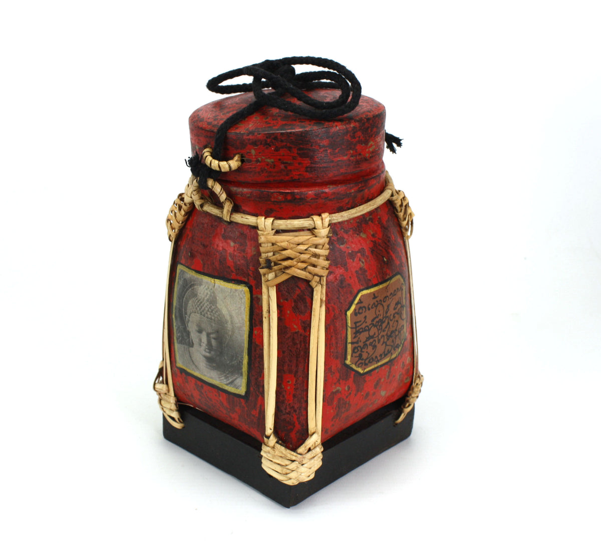Rice seed box - Medium, 20cm high, Buddha, Red - farangshop-co