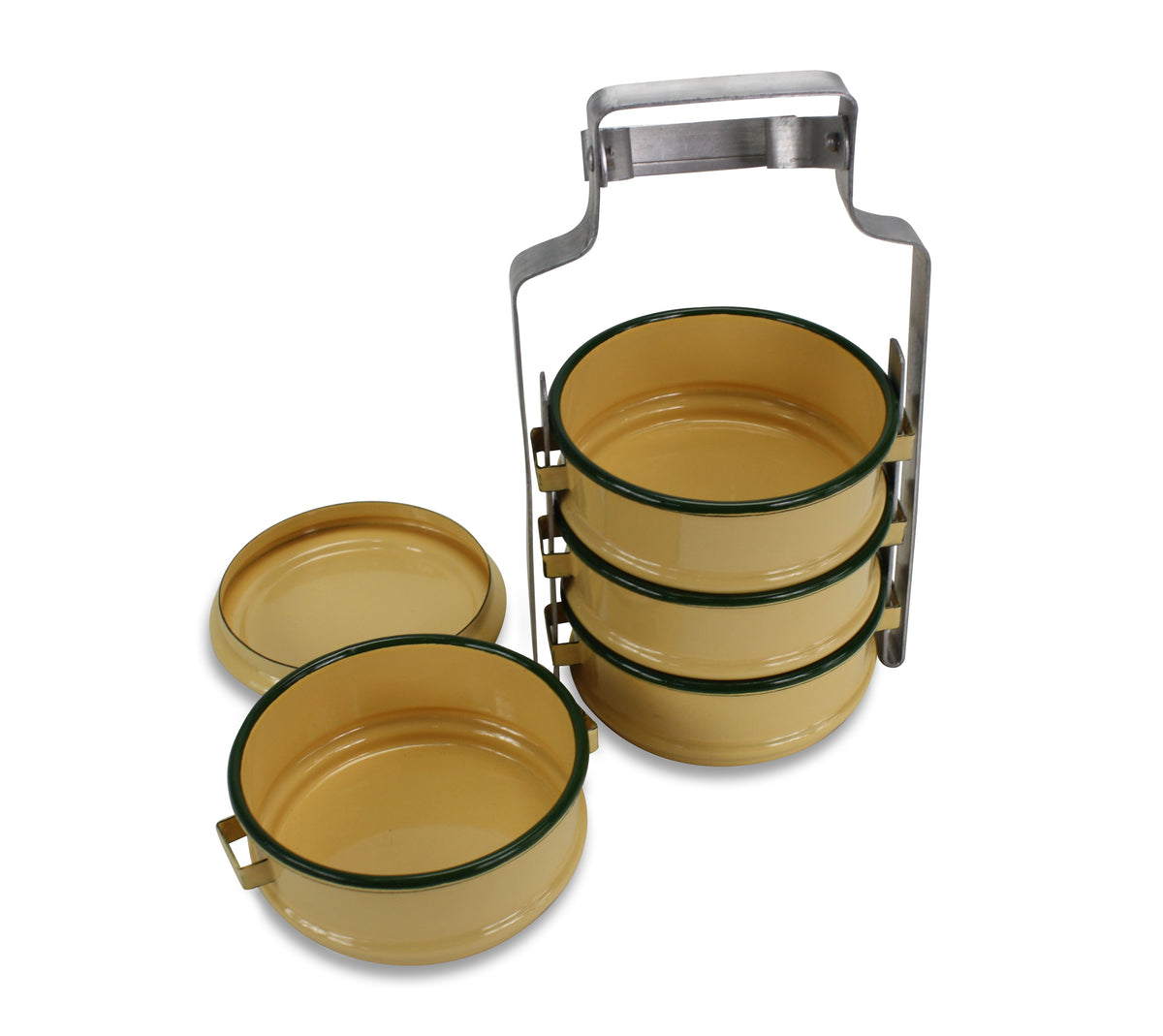 Traditional Thai Tiffin Pinto Food Carrier Lunch Set, 4 x 10cm, Yellow & Green - farangshop-co