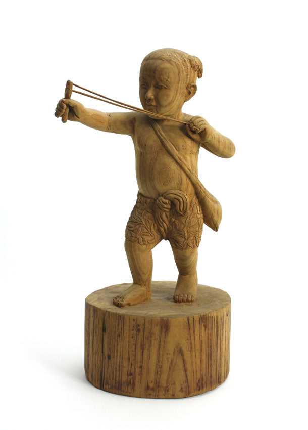 Teak carving - small boy with catapault, Thailand - farangshop-co