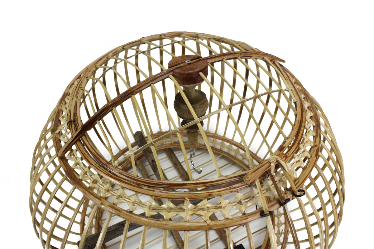 Thai Bamboo Bird Cage, 53cm x 54cm, or Light fitting, lampshade - farangshop-co