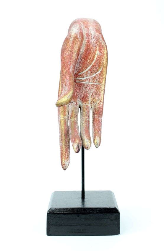 Thai wooden Buddha hand on stand - hand facing down. Different Colours. - farangshop-co