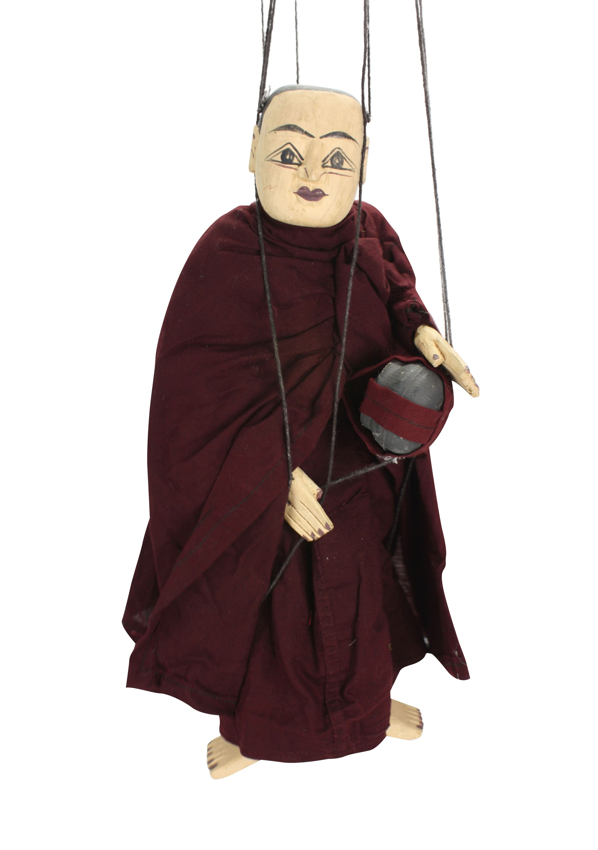 Traditional Burmese Puppet Marionette, Old Puppets, small style; Bodaw the Monk - farangshop-co