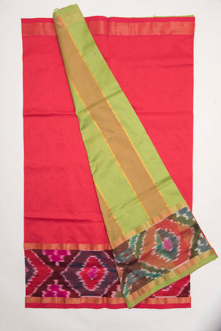 Red and Green Pochampally Silk Cotton Saree (PYSC1)