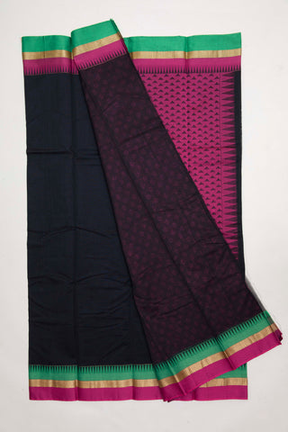 Black with pink jacquard pallu Semi Silk cotton Saree (SSC3)