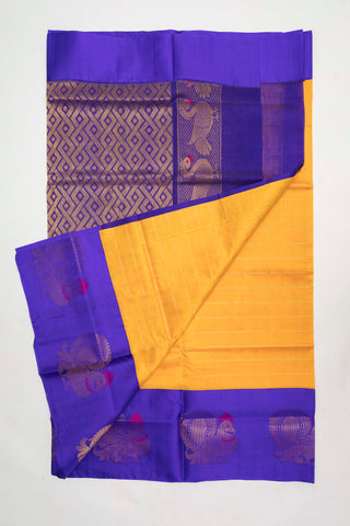 Mango yellow and blue Pure Silk Cotton Saree (PSC2)