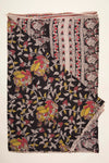Black with Yellow and Pink Design Kalamkari Silk Cotton (KSC2)