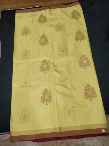 Golden Beige and Meroon Manga Soft Silk Saree (SS10)