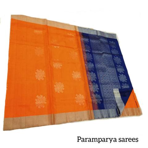 Orange and navy blue Soft Silk Saree (SS48)
