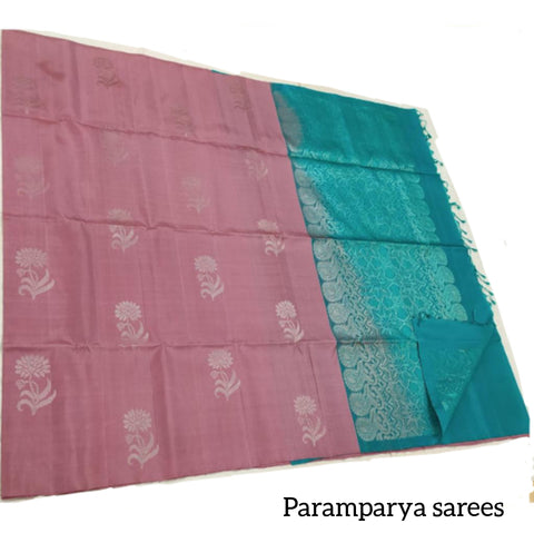 Mauve and turquoise Soft Silk Saree (SS51)