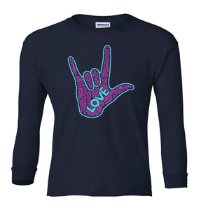 Youth T-Shirt - Youth Navy Long Sleeve T-Shirt