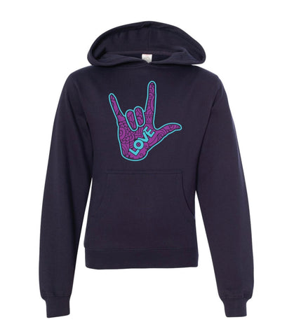 Youth Hoodie -  Navy Midweight Hooded Sweatshirt