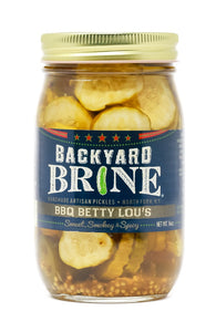 Backyard Brine - BBQ Betty Lou's Sweet, Smokey And Spicy Pickle Crinkle Cut Chips, 16 oz Jar, 6-Pack