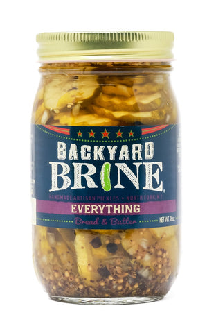 Backyard Brine - Everything Bread And Butter Pickle Crinkle Cut Chips, 16 oz Jar, 6-Pack