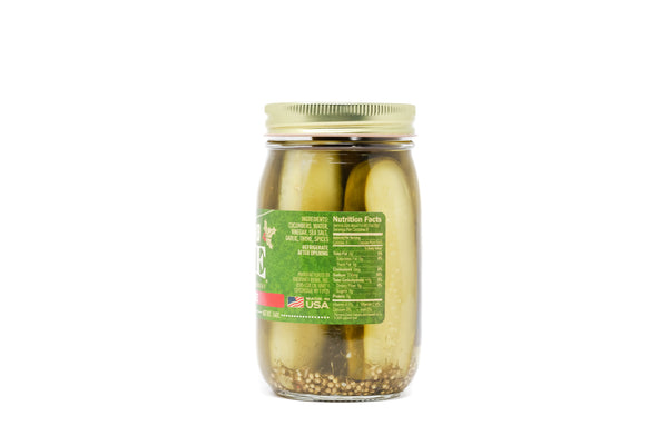 Backyard Brine - Holiday Thyme Garlic and Herb Pickle Halves, 16 oz Jar, 6-Pack