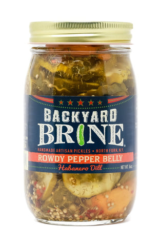 Backyard Brine - Rowdy Pepper Belly Habanero Dill Pickle Crinkle Cut Chips, 16 oz Jar, 6-Pack