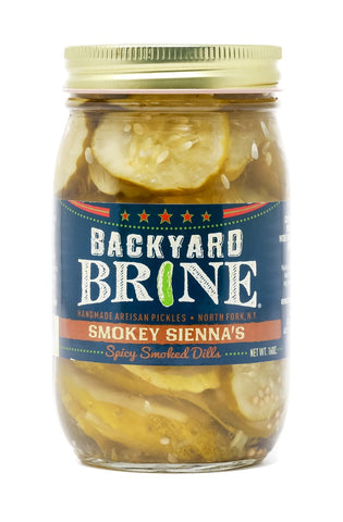 Backyard Brine - Smokey Sienna's Spicy Smoked Dills Pickle Crinkle Cut Chips, 16 oz Jar, 6-Pack
