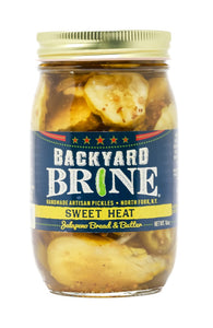Backyard Brine - Sweet Heat Jalapeno Bread and Butter Pickle Crinkle Cut Chips, 16 oz Jar, 6-Pack