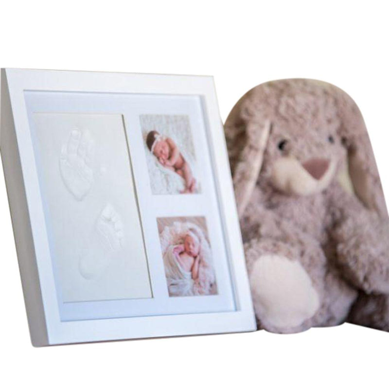 Premium Baby Handprint Kit by Laura Baby! NO MOLD! Baby Picture Frame (WHITE) & Non Toxic CLAY! Baby Footprint Kit