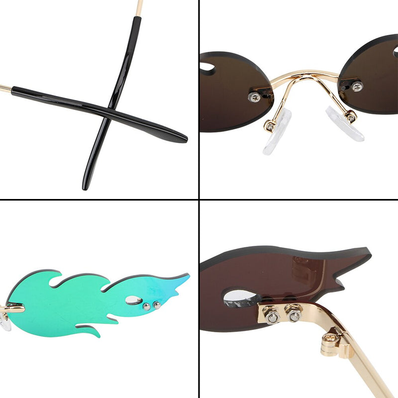 FORAUTO Rimless Wave Sunglasses  Fire Flame Sunglasses Streetwear Car Driving Glasses Trending Narrow Fashion UV 400 Eyewear