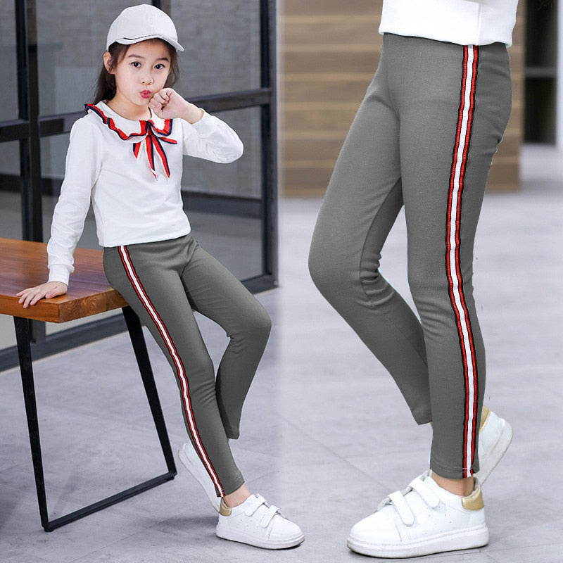 Girl Stretchy Pants Trousers Girl Leggings Pants Sports Stripe Leggings for Girls Kids Children Clothes Trousers 3 to 12 Years