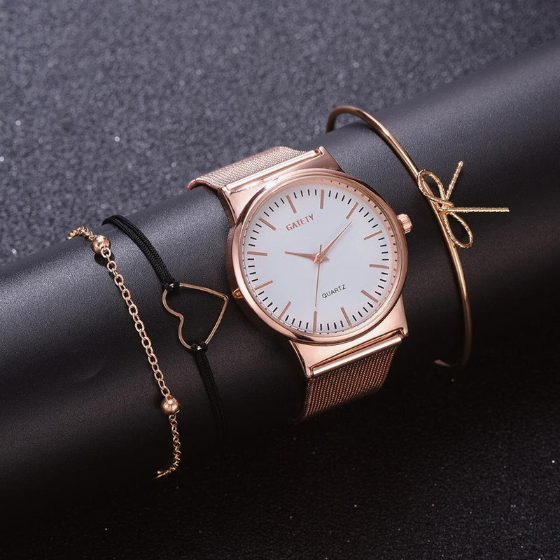 4PCS Women Watches Luxury Wrist watch relogio feminino Clock for Women Milanese Steel Lady Rose Gold Quartz Ladies Watch New