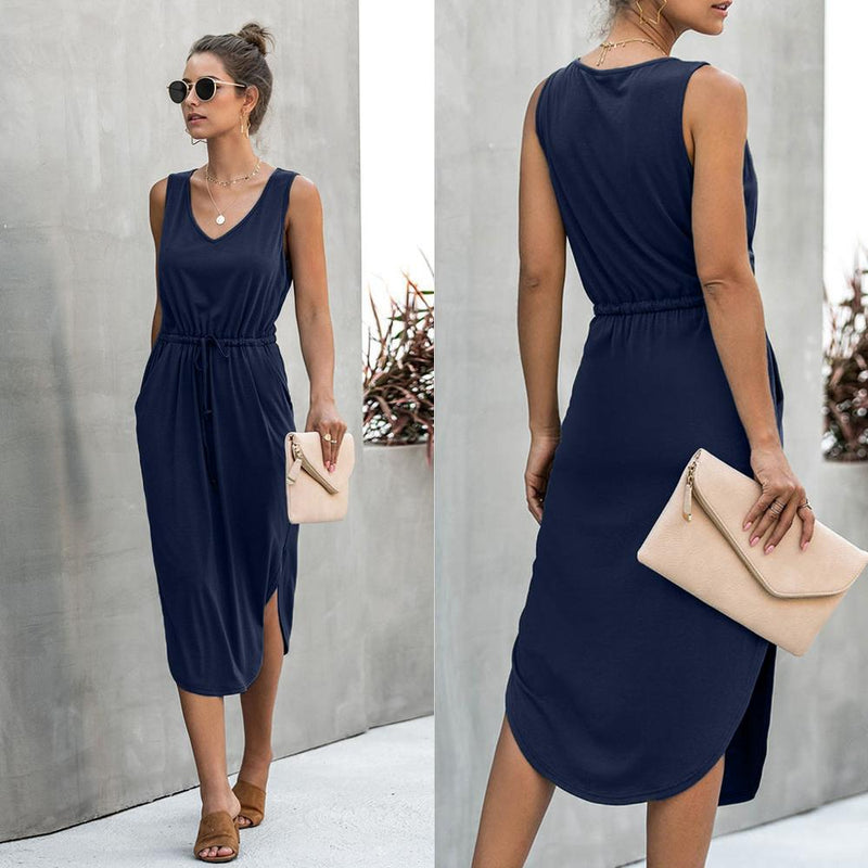 Sexy V Neck Sleeveless Knee Length Asymetrical Dress Summer Drawstring High Waist Loose Solid Sundress Shirt Party Long Dress