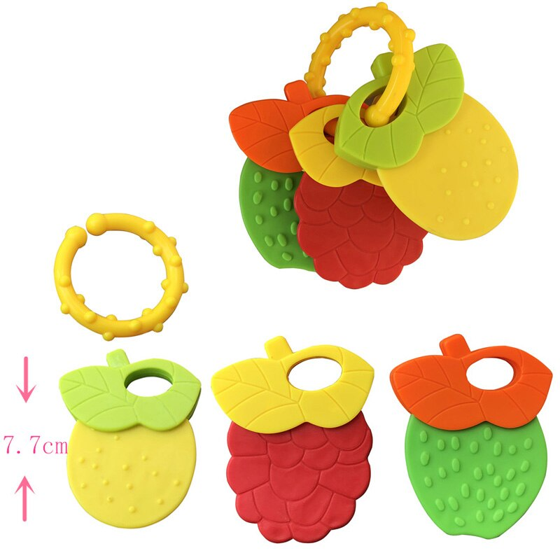 Baby Fruit Style Soft Rubber Rattle Teether Toy Newborn Chews Food Grade Silicone Teethers Infant Training Bed Toy Chew Toys Kid
