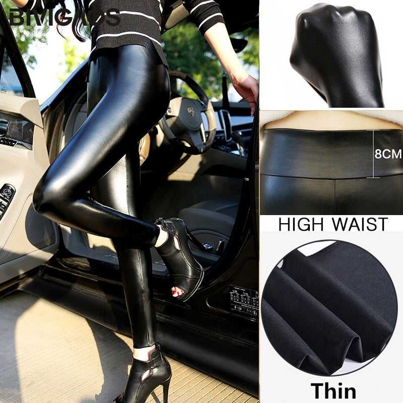 BIVIGAOS Fashion Women PU Leather Pants Elastic High Waist Winter Leggings Slim Velvet Leather Leggings Skinny Fleece Trousers