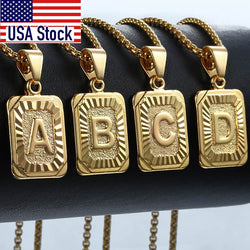 Initial Letter Pendant A-Z 26 Charm Yellow Gold Color Letter Necklace For Women Men Letter Name Jewelry Gift Dropshipping GPM05D