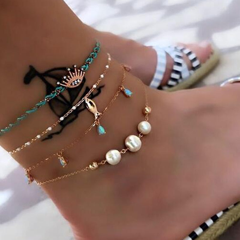 Tocona Layered Gold Shell Pendant Chain Ankle Bracelet On Leg Foot Jewelry Boho Charm Anklets for Women Accessories Mujer