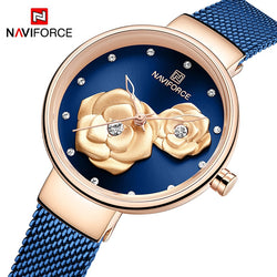 Top Luxury Brand NAVIFORCE Ladies Watch Fashion Creative 3D Rose Women wrist watches Casual Dress Clock Relogio Feminino 2020