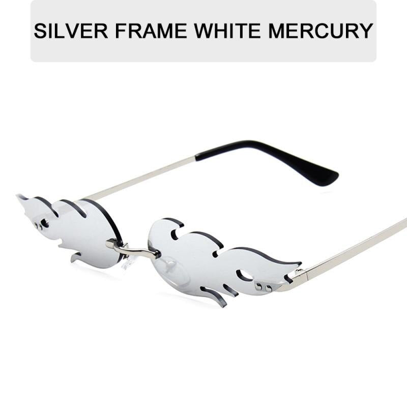 Motor/Bike 2020 NEW Fashion Fire Flame Sunglasses Women Men Rimless Sunglasses Women Mirror Rectangle Vintage Sun Glasses UV400