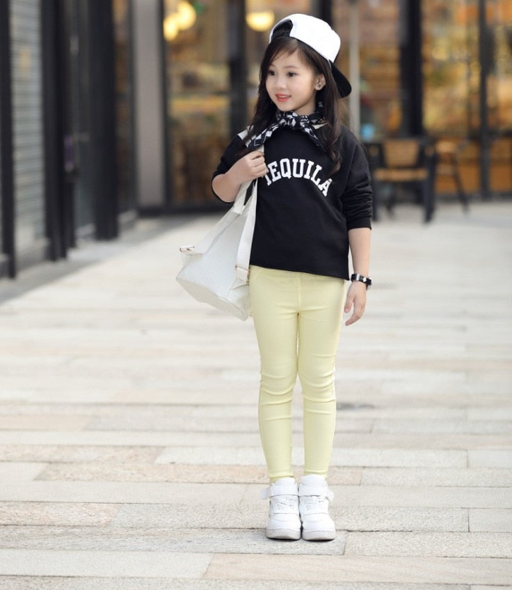 2019 Kids Girl Pants Spring Autumn Candy Color Elastic Pencil Trousers Child Solid Leggings For 2-11Y Children Clothing