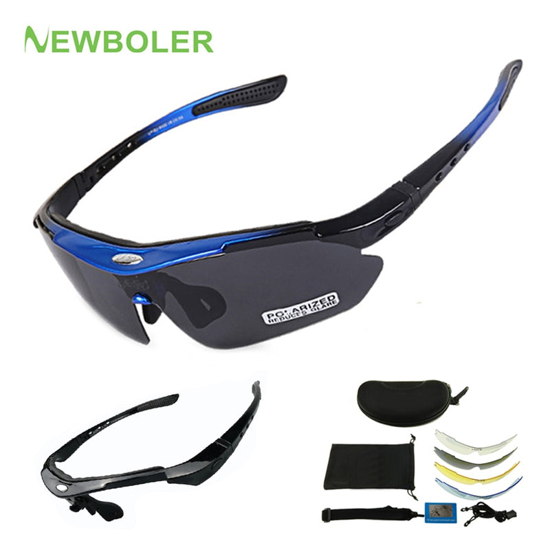 NEWBOLER 2 Frame Polarized Cycling Sun Glasses Outdoor Sports Bicycle Glasses Men Women Bike Sunglasses Goggles Eyewear 5 Lens
