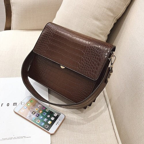 Bolsos Mujer Vintage Alligator Shoulder Bag For Women 2020 Luxury Handbags Women Bags Designer Female Chain Crossbody Bags Sac