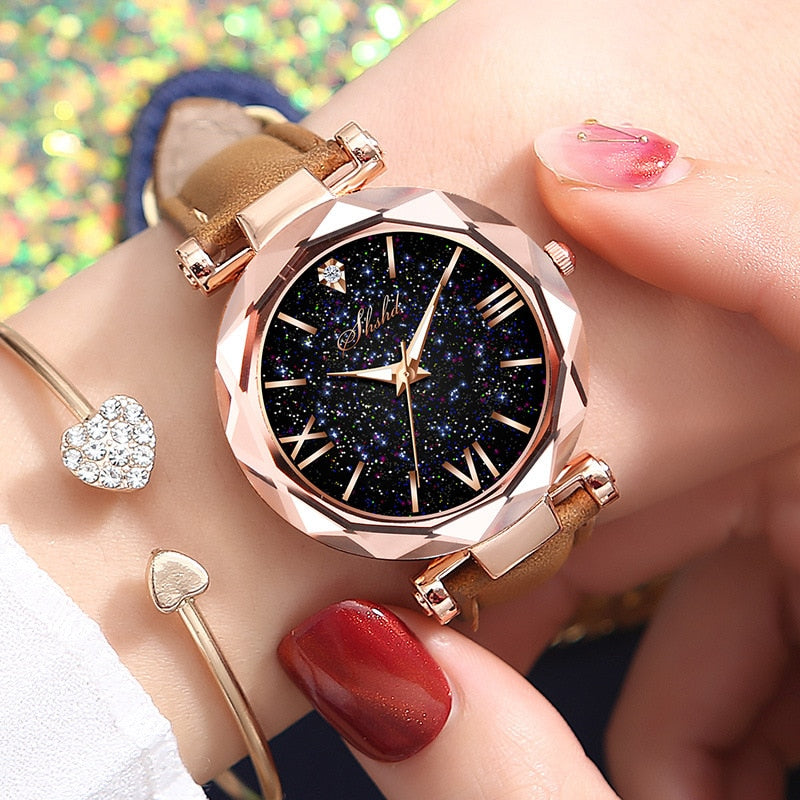 Women Casual Leather Ladies Watch Quartz Wrist Watch Starry Sky Female Clock reloj mujer relogio feminino
