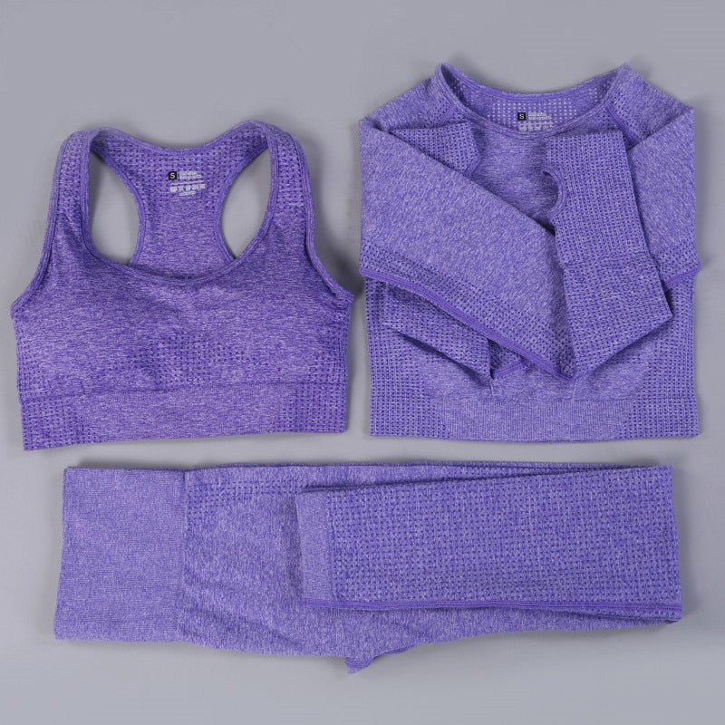 7 Colors GYMS Seamless Yoga Set Fitness Sport Suits Gym Set Clothing Crop Top Shirts High Waist Running Leggings Pants