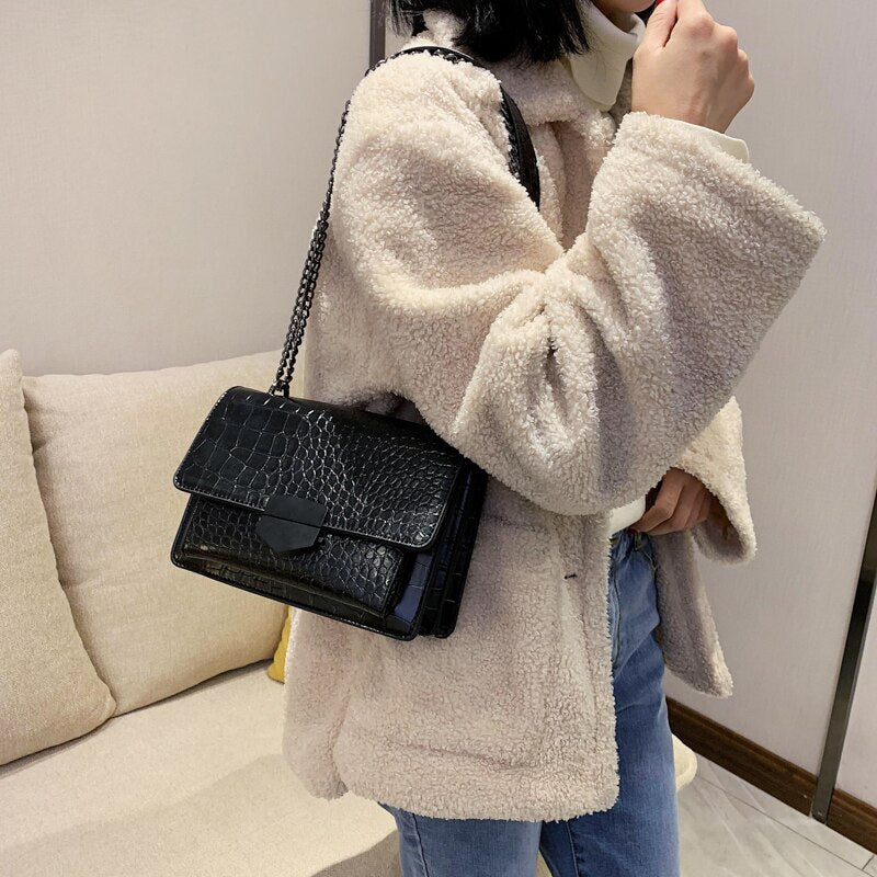 2020 Fashion Stone Pattern Leather Crossbody Bag For Women Sac A Main Female Shoulder Bag Female Handbags And Purses With Handle