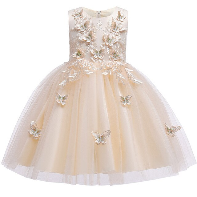 Flower Girl Princess Wedding Bridesmaid Butterfly Embroidery Party Dress Baby Girl Graduation Ball Performance Party Dress